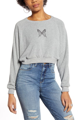 Project Social T Butterfly Crop Sweatshirt