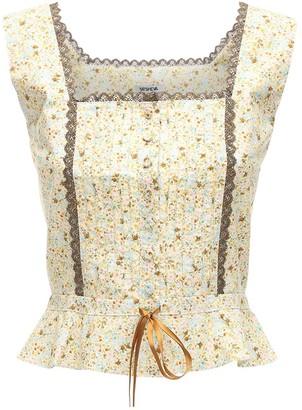Batsheva Amy Printed Cotton Top