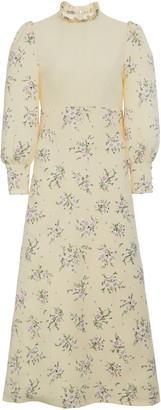 Miu Miu Floral Pleated Midi Dress