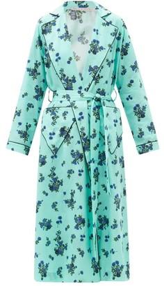 Emilia Wickstead Amana Floral-print Cotton-poplin Robe - Blue Print