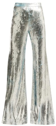 Halpern Foil Pleated Flared Trousers - Womens - Silver