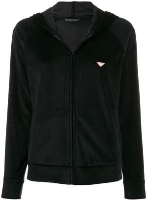 Emporio Armani velour zipped hoodie