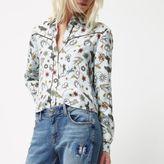 River Island Womens Petite blue print western shirt