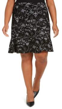 Michael Kors Michael Plus Size Glam Lace-Print Skirt