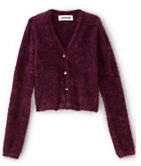 Classic Little Girls Cozy V-Neck Cardigan-Burgundy