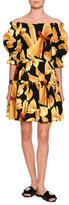 Dolce & Gabbana Off-the-Shoulder Pasta-Print Dress, Black/Yellow