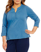 Allison Daley Plus Y-Neck 3/4 Sleeve Embroidered Solid Knit Top