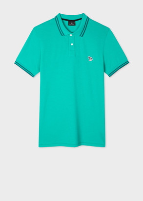 Paul Smith Men's Slim-Fit Turquoise Zebra Logo Cotton Polo Shirt With Teal Tipping