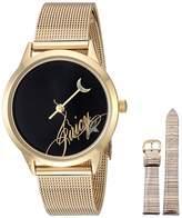 Juicy Couture Black Label Women's Gold-Tone Mesh Bracelet Watch with Silver-Tone Interchangeable Strap JC/1242GIST