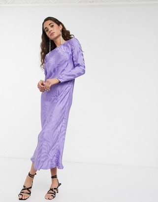 ASOS jacquard satin long sleeve maxi dress