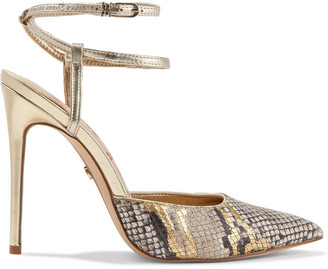 Sam Edelman Deana Metallic Smooth And Snake-effect Leather Pumps
