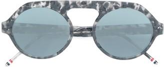 Thom Browne Eyewear Tortoiseshell Top Bar Round Frame Sunglasses