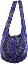 NaLuck Dark Blue Tie Dye Hippie Boho Sling Crossbody Shoulder Messenger Bag Bohemian Medium HTM116