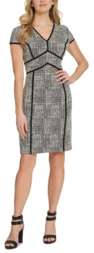 DKNY Contrast-Trim Sheath Dress