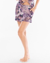 Soma Intimates Satin Trim Pajama Shorts Dynasty Floral Plum