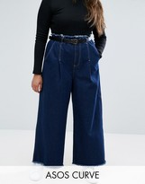 Asos Belted Wide Leg Jeans With Raw Hem