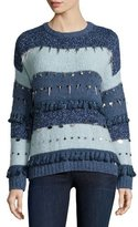 Banjo And Matilda Trinket Embellished Stripe Sweater, Mixed Blues