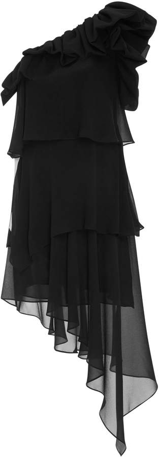Givenchy Silk Georgette One Shoulder Short Dress With Ruffles