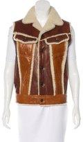 Balenciaga Shearling Notch-Lapel Vest