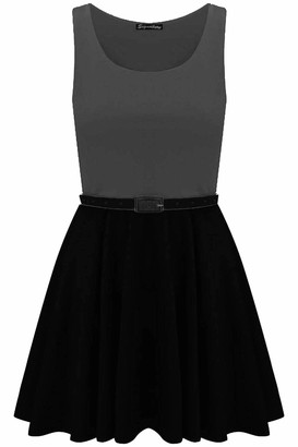 Fashion Star Womens Belted Flared Franki Party Skater Dress Green M UK 10