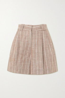 BLAZÉ MILANO Wind Hunter Fell Pinstriped Grain De Poudre Shorts - Sand