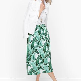 Talbots Linen Palm Leaves Midi Skirt
