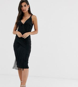 Asos DESIGN Petite midi dress in all over fringe