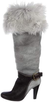 Giuseppe Zanotti Shearling-Trimmed Knee-High Boots