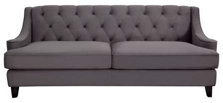 Living Bridgette Velvet Tufted Sofa Dark Gray