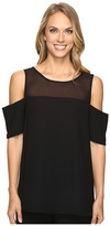 Vince Camuto Short Sleeve Cold-Shoulder Blouse with Chiffon Yoke