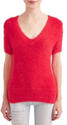 No Boundaries Juniors' V-Neck Short-Sleeve Sweater