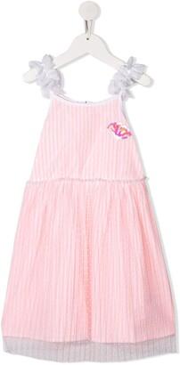 Billieblush Vertical Stripe Sequin Embroidered Dress