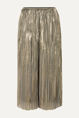 Vince Pleated Lame Culottes - Silver