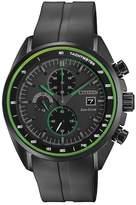 Citizen Men's Eco-Drive HTM Black IP Black Rubber Strap Watch, 44mm