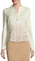 Ming Wang Ombre Zip-Front Jacket, Sand Multi
