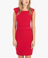 Red Buckle-Accent Sleeveless Dress