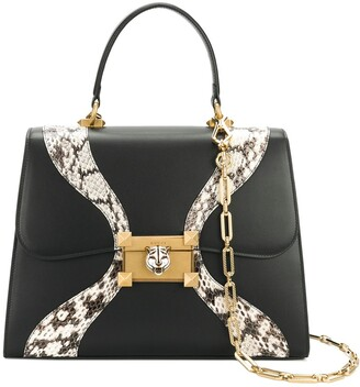 Gucci Leather and snakeskin top handle bag