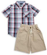Nautica Boys 2-7 Plaid Sportshirt and Shorts Set