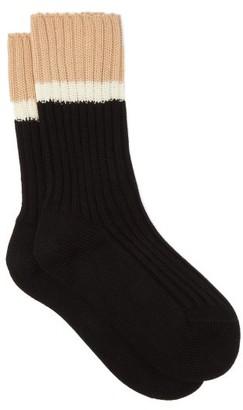 Prada Striped Rib-knitted Stretch-cotton Socks - Black Beige