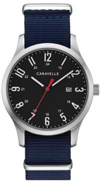 Caravelle Designed by Bulova Men's Blue Nylon Strap Watch 40mm Box Set