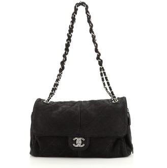 Chanel Ultimate Stitch Side Zip Flap Bag Quilted Nubuck Large