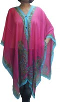 Love Boho Scarf Caftan Tunic Poncho Cover-up, Paisley Print, Pink Color