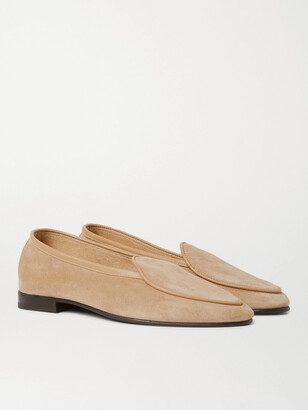 George Cleverley Hampton Leather-Trimmed Suede Loafers - Men - Neutrals