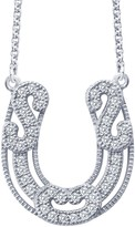 Lafonn Platinum Plated Simulated Diamond Detail Lucky Lady Horseshoe Pendant Necklace
