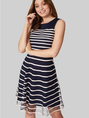 M&Co Izabel striped fit & flare dress