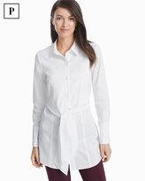 White House Black Market Petite White Poplin Tie-Front Shirt