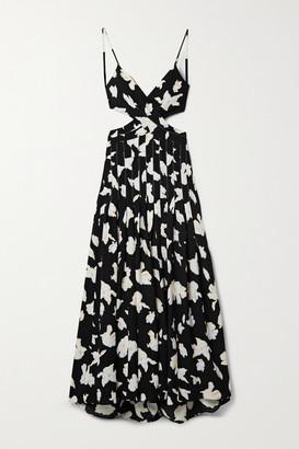 Proenza Schouler Cutout Wrap-effect Pleated Floral-print Georgette Maxi Dress - Black
