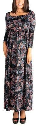 24/7 Comfort Apparel 24seven Comfort Apparel Paisley Empire Waist Long Sleeve Maternity Maxi Dress