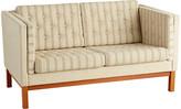 Rejuvenation Danish Loveseat with Original Striped Wool Upholstery