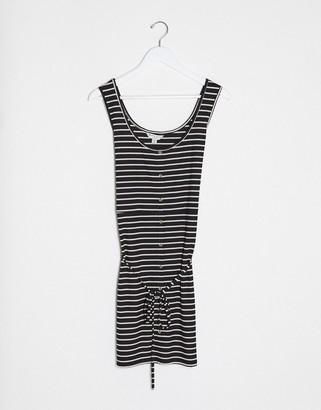Brave Soul Plus pallas striped button through jersey dress with tie waist in black